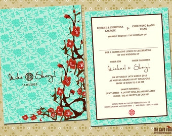 Oriental Wedding invite / Cherry Blossoms & Double Happiness with Turquoise base - Printables