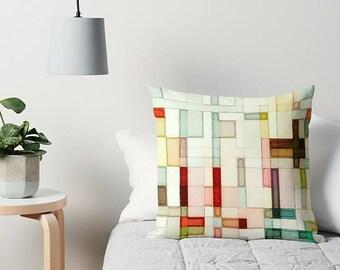 Watercolor Pillow, Couch Pillow, Accent Pillow, Toss Pillow, Pastel Pillow, Modern Pillow, Throw Pillow, Geometric Pillow, Art Pillow