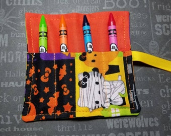 Halloween Mini Crayon Keeper Roll Up Holder  4-Count Party Favor - Mummy Kitty