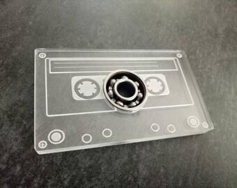 Retro cassette fidget spinner with bearing.