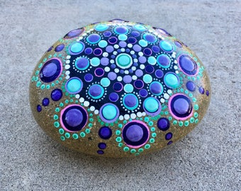 Hand painted Mandala stone in purples and blues