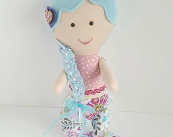 Mermaid toy doll, mermaid doll, stuffed mermaid doll, stuffed mermaid toy. Mermaid theme room, mermaid themed room, and mermaid nursery.