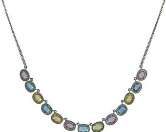Multi Sapphire Gemstone Pave Diamond Jewelry Silver Chain Handmade Necklace NEMJ-471