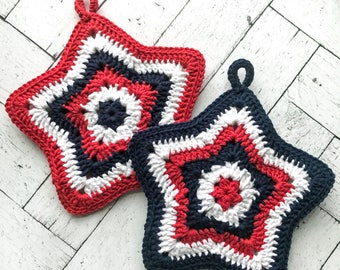 Patriotic Red White and Blue Crochet Pot Holder, Crochet Hot Pad, Patriotic Pot Holder, Cotton Pot Holder, Star Pot Holder,Kitchen,Americana