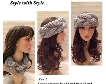 2 in 1 Super Chunky Cable Knit Headband/Neckband...