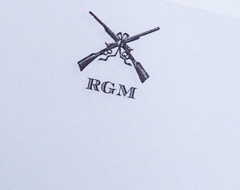 Men's Personalized Notepad Hunting Guns Monogrammed Gift 75 Sheet Note Pad Clay Skeet Shooting White or Kraft Paper Mountain Cabin Lodge