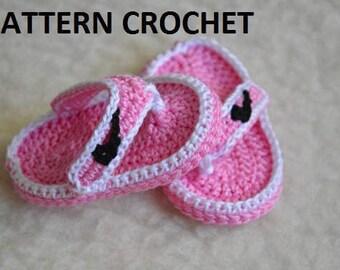 CROCHET PATTERN - sandals NIKE thong Crochet Baby Booties pattern