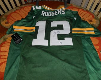 AARON RODGERS SIGNED green bay packers nike jersey/global authentics/w/tags