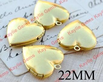 22mm Heart Locket Pendant Charm Raw Brass Plain Smooth   - LKRS-22MMRB - 4pcs