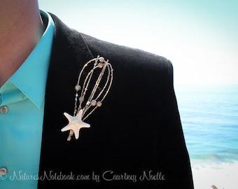 Beach Wedding Starfish Boutonniere,  Starfish Lapel Pin, Groom Beach, Choose from 46 Different Colors - Unique Design - Groomsman Lapel Pin