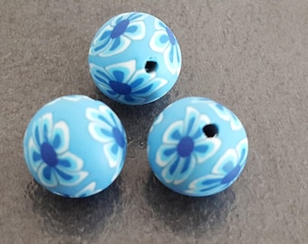 flowers, floral, blue beads, fimo beads, 6 polymer clay beads, round blue beads, beads 12 mm flower