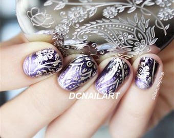 Honeybee Flower Design Nail Stamping Plate Nail Art