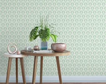 Geometric leaf print removable wallpaper / cute self adhesive wallpaper / green leaf wall mural G136-27