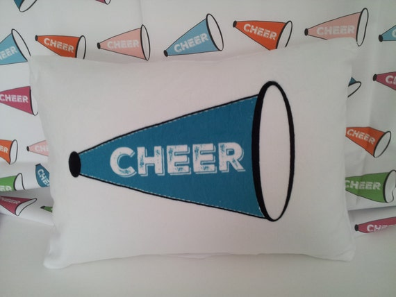 Custom Cheer Pillow Sham Cover 12x16, Cheerleader Preppy Home Decor, Colorful Pillow Cover, JV, Varsity, Pop Warner Cheer Team Gift