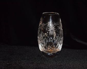 Vintage Edinburgh Crystal Barrel Bud Posy Vase