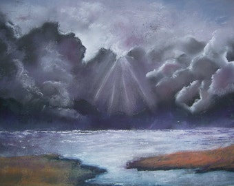 Storm Clouds, pastel painting