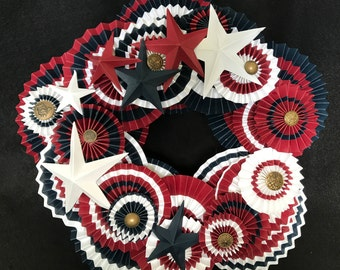 patriotic red/white and blue paper rosette wreath