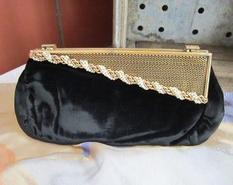 Black Velvet Clutch Vintage 1920's Brass Pearl Flip Closure Elegant Evening Bag Back Handle Handbag Accessory Purse Collectible