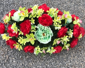 Grave Decoration ~ Spring Cemetery Saddle ~ Memorial Flowers ~ Cemetery Decoration for Ground or Headstone