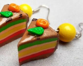 caramel lemon raspberry mint cake/cookie/handmade item/design/jewelry gift/trendy/unique jewelry/fimo/impressive/cute