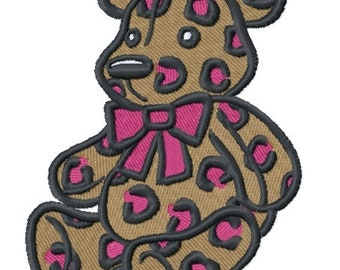 Leopard Print Teddy Bear (2.98 x 3.88) Iron-on Patch - Iron on Patch - Embroidered Patch