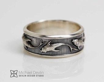 Koi fish silver band