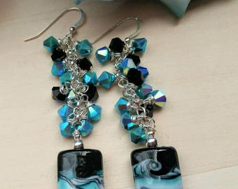 Chandelier Lampwork and Swarovski Crystal Earrings