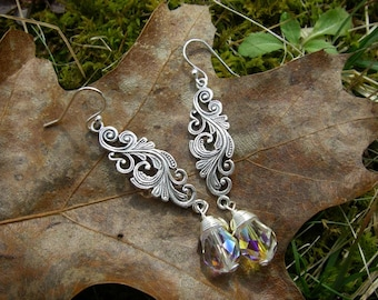 LOTR OOAK Woodelves Galadriel fantasy scroll vines leaf celtic sterling silver 925 swarovski crystal AB wire wrap dangle tear drop earrings