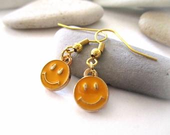 Happy Face Earrings | Yellow Earrings | Gold Earrings | Tiny Earrings | Dangle Earrings | Fishhook Earrings | Smiley Face Earrings | Emoji