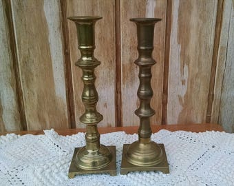 Brass Candle Holders, Pair Of Candlestick Holders