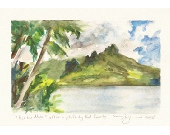 "Nuku Hiva, French Polynesia, Print of Watercolor, 4"" x 6"""