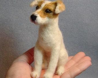 Jack Russell Terrier Custom dog art  needle felted sculpture Pet Portrait Memorials