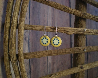 Yellow Dot Enamel earrings with Blue Dots and Sterling Silver earwires