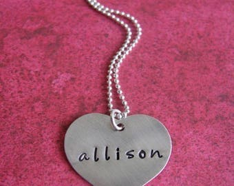 custom silver heart necklace