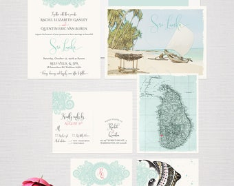 Destination wedding invitation Sri Lanka Ceylan India Asia Indian Wedding Blue Sea foam Green illustrated wedding invitation Deposit Payment