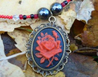 Red Rose Cameo, Cameo necklace, Red Rose, Red Cameo, Vintage Rose,