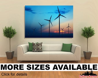 Wall Art Giclee Canvas Picture Print Gallery Wrap Ready to Hang Wind Turbine Mill 60x40 48x32 36x24 24x16 18x12 3.2