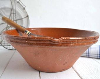 Rustic Terracotta Confit Bowl Jatte French Vintage Mixing Dough Bowl