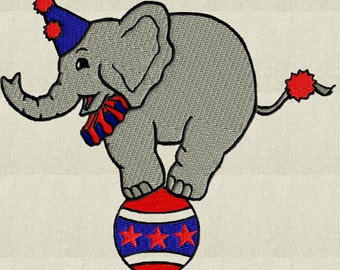 Circus Elephant - EMBROIDERY DESIGN file - Instant download Exp Jef Vp3 Pes Dst Hus formats - 2 sizes & 4 colors