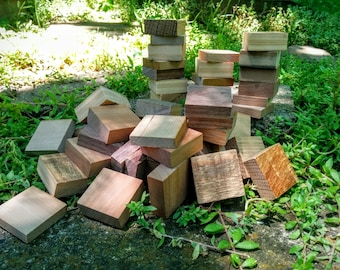 10 Square Unfinished Wood Blocks