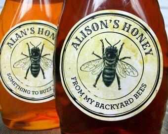 CUSTOM Vintage Seal Honey bottle & canning jar labels for backyard beekeepers gift, customized round honey bee mason jar stickers