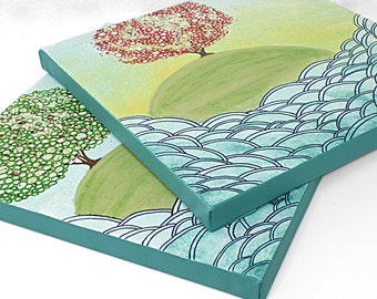 Ocean Wave Art - Set of Two Original Paintings on Canvas - Island Trees in Spring and Summer - Small 21x10