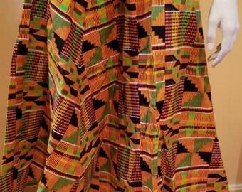African Kente Print Elastic Waist Skirt