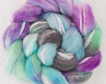 Hand dyed fibre, Extra Fine Merino, Tencel, hand dyed roving, fiber, combed top,  roving, fibre, spinning fibre, felting materials,