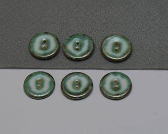 Green buttons, green ceramic buttons, modern buttons, handmade