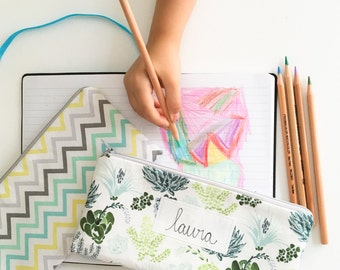 Personalized Kids School Supplies, Succulent Zipper Pouch, Pencil Pouch, Cactus Pencil Case, Cactus, Geometic, Personalised Teacher Gift