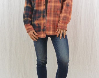 Upcycled Carhartt Flannel Shirt, Size Medium, Men's, Unisex, Grunge, Workwear, Bleach Destroyed, OOAK