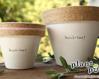 """6"""" Basil-Tov! » Basil Herb Indoor and Outdoor Pot or Planter"""