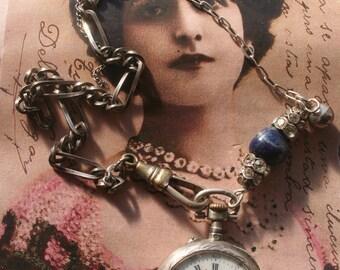 Sale, silver Pocket watch necklace, Antique assemblage necklace, Antique watch. Vintage necklace, old watch, silver pocket watch, unique,