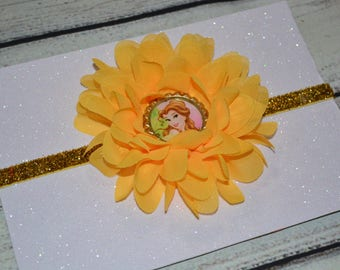 Princess Belle Baby Headband, Beauty And The Beast Headband ,Baby Headband,Belle Headband ,Newborn Headband, Yellow and Gold Headband